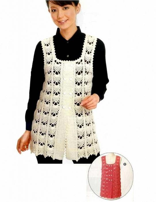 Chalecos tejidos patrones 🥇 CHALECO BLANCO 🥇 ▷ Crochet Fácil