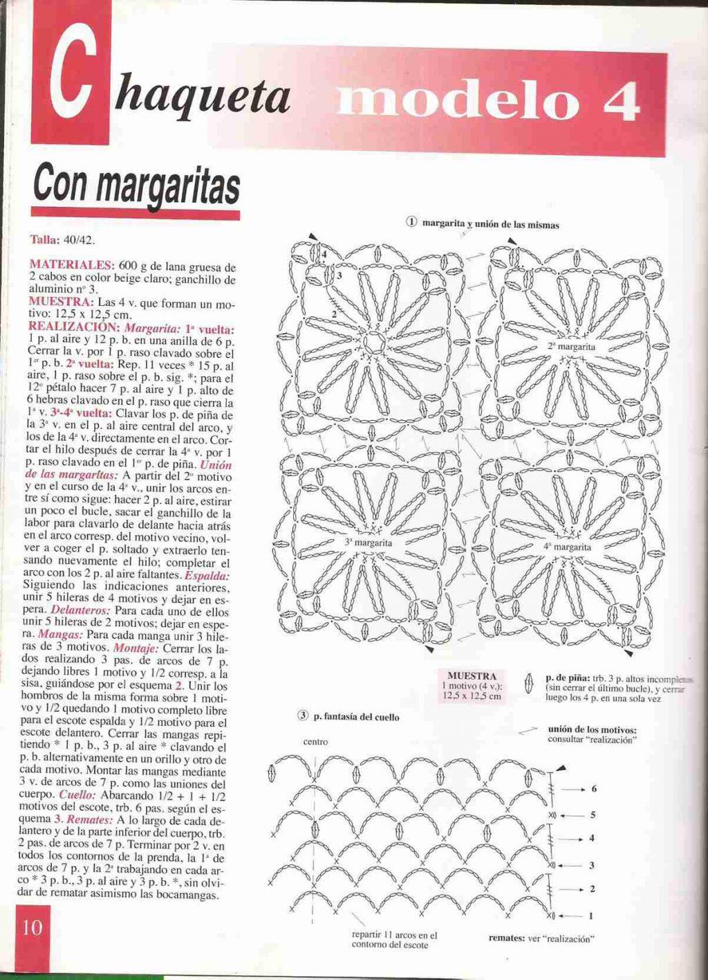 Chaqueta con margaritas ⭐ ESQUEMAS DE CHALECOS ⭐ ▷ Crochet Fácil