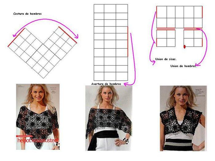 Poncho sencillo ⭐ ESQUEMAS PONCHOS CROCHET ⭐ ▷ Crochet Fácil