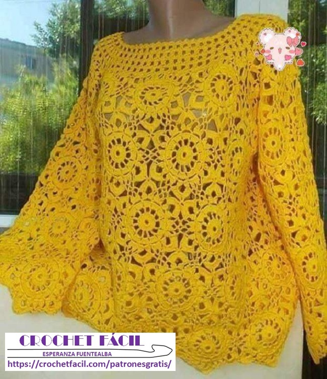 Blusa Crochet Canesú y Motivo