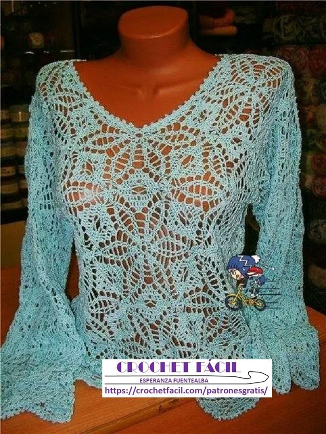 Blusa Crochet Fina