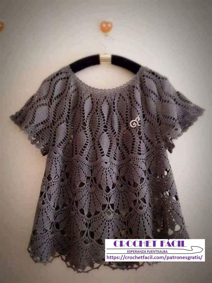 Blusa Crochet abanico