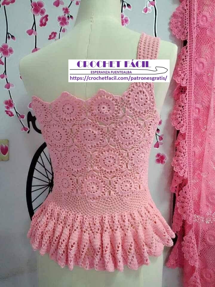 Blusa Crochet con Faldón