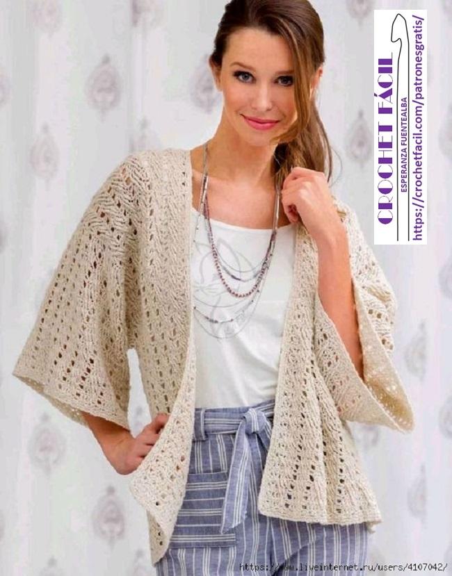 Chaqueta Kimono Crochet