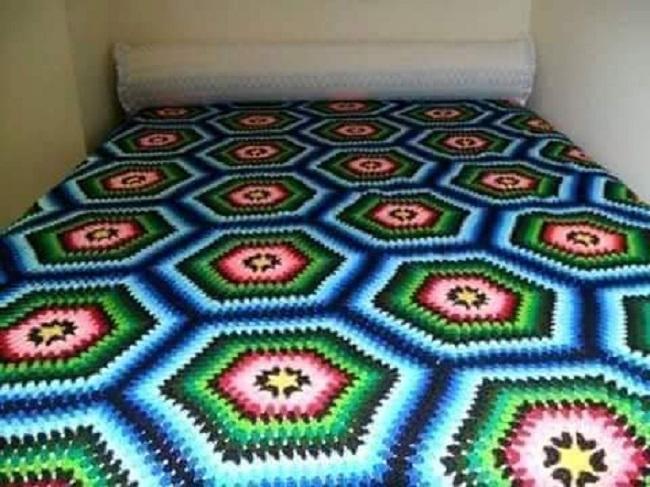 Colcha Afgana Crochet Motivo