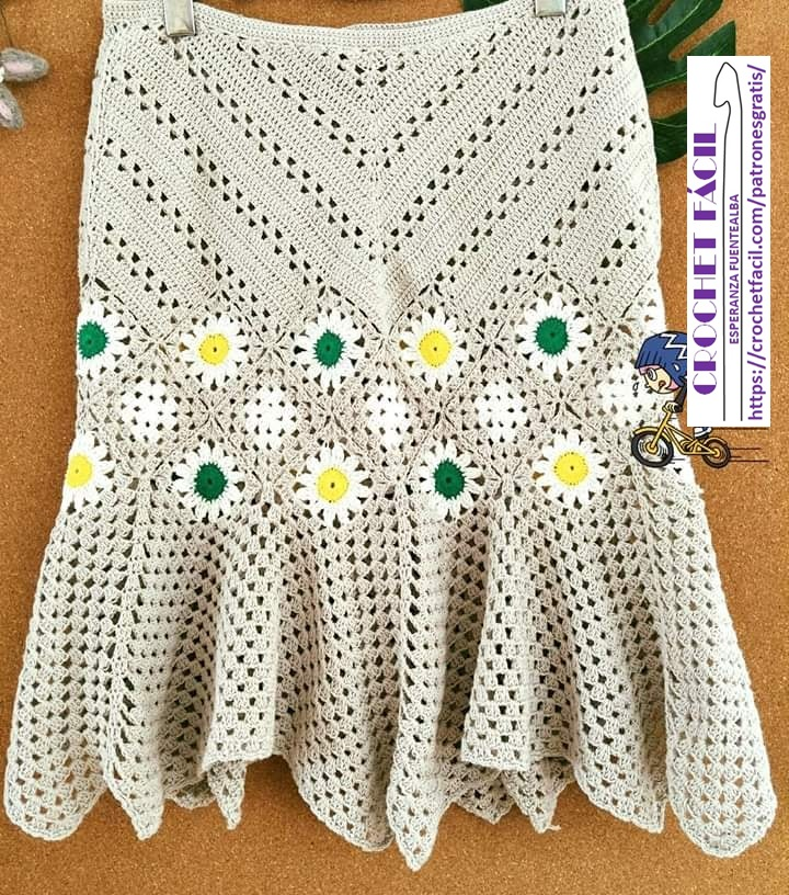 Falda de Crochet en Diagonal