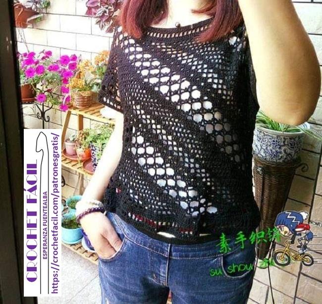 Polera Crochet Calada
