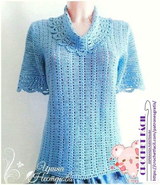 Polera Crochet con Cuello